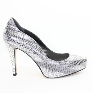 WHBM Silver Heels sz 8 Leather Stiletto
